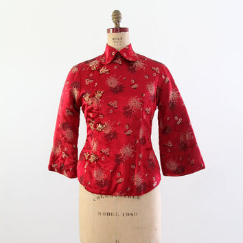 SALE vintage Chinese jacket, red satin brocade shirt coat