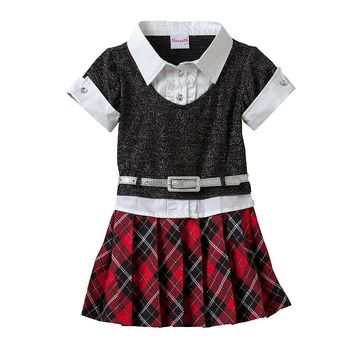 Nannette Glitter Plaid Mock-Layer Dress - Toddler Girl, Size: