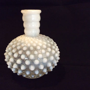 Vintage White Milk Glass Hobnail Flower Vase Shabby Chic French Country Cottage