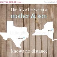 SALE Mother & Son Print- mom grandma gift, travel present map, long distance, gift for wife, mom son map, custom mothers d