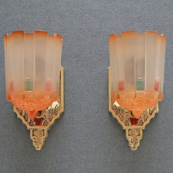 Antique pair of slip shade Art deco sconces, by Lincoln from 1930's