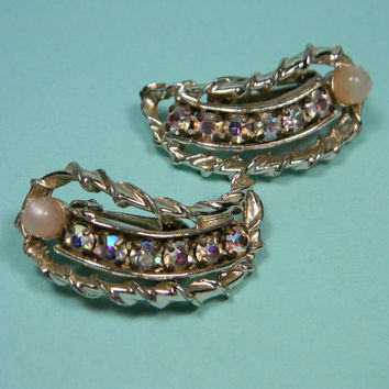 Dramatic Ann Vien Aurora Borealis Earrings, 80s Clip Ons, Silver Tone, Pink and Multi-color