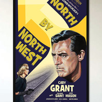 North by Northwest - Retro Alternative Movie Poster - 1930's - 1940's - Hitchcock
