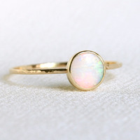Solid 14k Gold Natural Fiery AAA Opal Orbital Ring - Simple Beautiful 14K Gold Stack Ring with a Natural Earth Mined 6mm Fiery White Opal