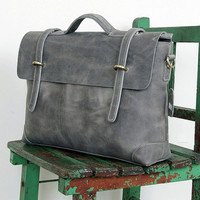 "Gray Leather 13"" Messenger Bag Carbon Men's Rustic Briefcase Laptop iPad MacBook Air Ultrabook Computer Carrying Case w/ Shoulder Straps"