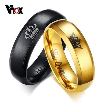 "Vnox Drop Shipping Engagement Ring Unique Gift for Lover ""His Queen""""Her King "" Couple Wedding Bands Ring for Women Men Jewelry"