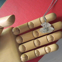 Herkimer Diamond Crystal Necklace - Natural Double Terminated Clear/Black Tourmaline Quartz Pendant Necklace stone no.3