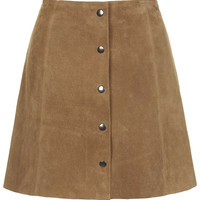 Camel Suede Button Front Mini Skirt