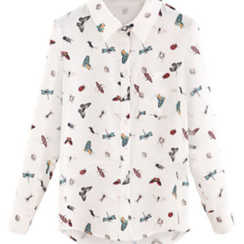 White Pointed Flat Collar Insect Print Long Sleeve Blouse