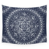 Society6 White Flower Mandala On Dark Blue Wall Tapestry