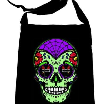 Mexican Sugar Skull Crossbody Sling Bag Day of the Dead Calavera