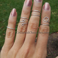 Choose 2 - Silver midi mid finger, above the knuckle ring, adjustable wire wrap wrapped middle finger rings, trendy, layering stack rings