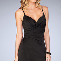 Mock-Wrap Open-Back Homecoming Dress with Ruching