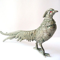 Vintage Metal Pheasant with Red Glass Eyes - Brass Bird - Home Decor