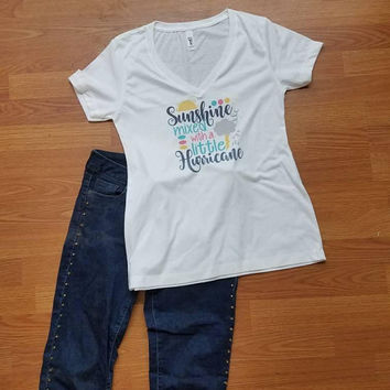 Sunshine - mixed - with - a - little - hurricane  -  ladies - t - shirt- v - neck - short - sleeve - novelty - tee