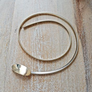 Vintage 1980s Minimalist + Gold Stretch Belt