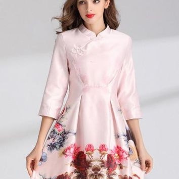 Pink 3/4 Sleeve Mandarin Collar Women's Day Dress