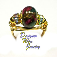 DWJ0309 Ruby Sapphire Emerald Quartz w Pyrite Gold Wire Wrap Ring All Sizes