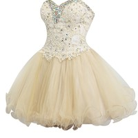 VILAVI A-line Sweetheart Short graduation dresses Juniors Dresses 4 Champagne