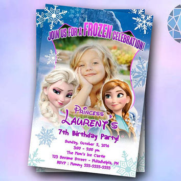 Frozen Cellebration Potrait Design For Birthday Invitation on SaphireInvitations