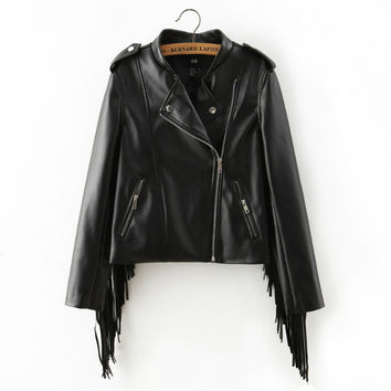 Vegan Black Leather Motor Jacket   w/ Fringe
