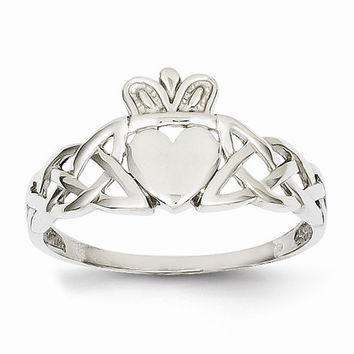 14kt white gold mens claddagh ring