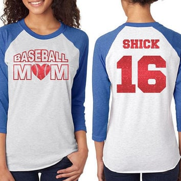Glitter Baseball Mom Raglan shirt, customized baseball 3/4 sleeve raglan tee, unisex baseball shirt, mom baseball shirt, custom mom raglan