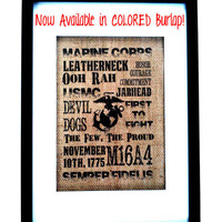 USMC 8x10 Original Tan Burlap Print, Marine Corps, Military, Home Decor, Wall Decor