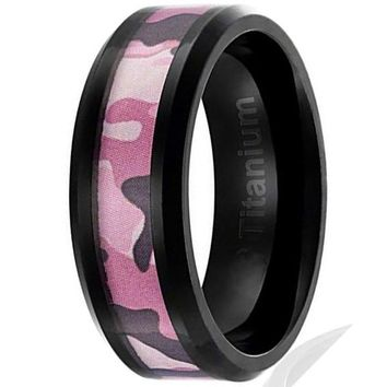 CERTIFIED 8MM Titanium Camo Ring Black Plated Pink Camouflage Inlay | Beveled Edges