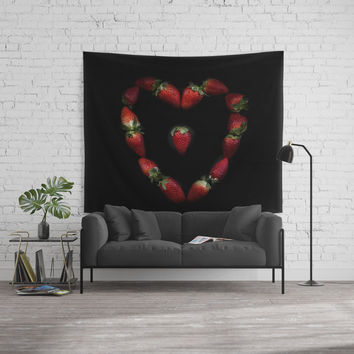 Heart of strawberries Wall Tapestry by vanessagf