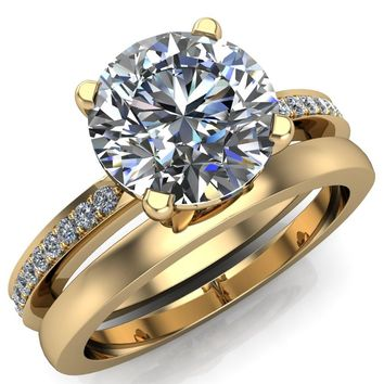 Riley Round Moissanite Exquisite 4 Prong Shank Diamond Etched Sides Solitaire Ring
