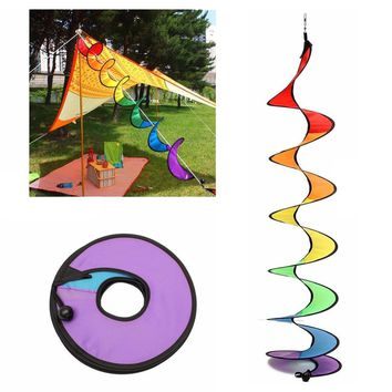 1PC Rainbow Spiral Windmill Tent Colorful Wind Spinner Garden Home Decorations New -Y102