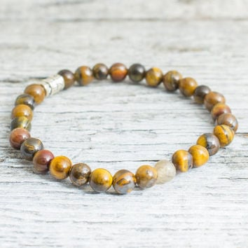 Tiger eye beaded stretchy bracelet, yoga bracelet, mens bracelet, womens bracelet