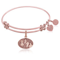 Expandable Bangle in Pink Tone Brass with Wizard of Oz Group Silhouette Symbol