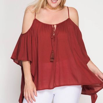 Rusty Rose Cold Shoulder Top | Misty Boutique