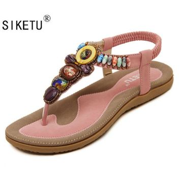 SIKETU 2017 New Korean Comfort Women Sandals Bohemian Beaded Flat Shoes Large Size 35