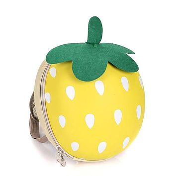 Kawaii Strawberry 3D Cartoon Mini Children's Backpack Candy Color Cute Small School Bags for Boy Girls kids Round Bag 5 ColorsY2