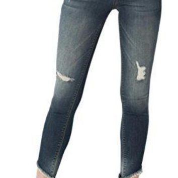 Sneak Peek Women's Mid Rise Cropped Skinny Jeans With Distressed Knee and Frayed Slant Hems