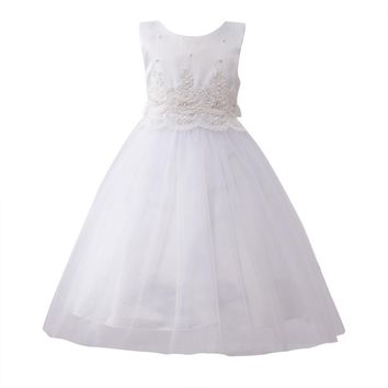 Summer Cute Baby Girls Kids Solid Princess Ball Gown Dresses Kids Sleeveless O-neck Formal Party Bowknot Dresses 3 Colors