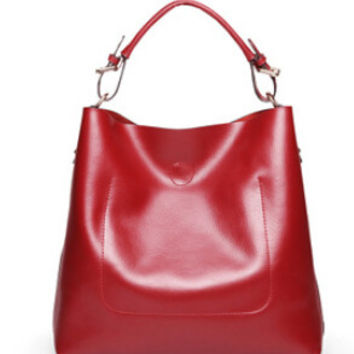 Red tote-leather