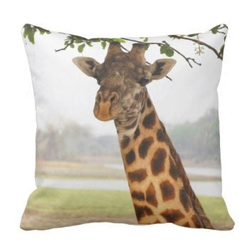 Giraffe image Throw pillow