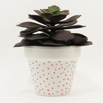 Terracotta Pot, Succulent Planter, Cute Planter, Small Pot, White Planter, Air Plant Holder, Indoor Planter, Succulent Pot, Pink Dots