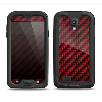 The Glossy Red Carbon Fiber Samsung Galaxy S4 LifeProof Fre Case Skin Set