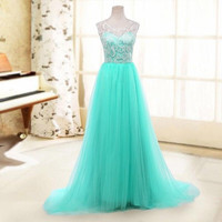 A-line Scoop Sleeveless Lace Prom Wedding Gown Blue Tulle Bridesmaid Dresses [7687097158]