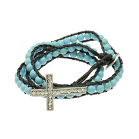 Metal Cross Turquoise Wraparound Bracelet