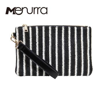 Women Straw Handbags Stripe Day Clutches Summer Bag Small Ladie Bags Wristlets Lady Casual Envelope Purse