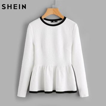 SHEIN Contrast Binding Textured Peplum Shirt White Women Tops Blouses Long Sleeve Elegant Fall Fashion Blouse