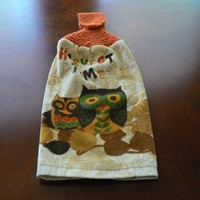 Harvest Time Owl Hanging Dish towel With Hand Knit Button Topper