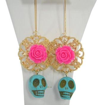 Mexican Pink Flower Sugar Skull Day of the Dead Turquoise Skull Earrings