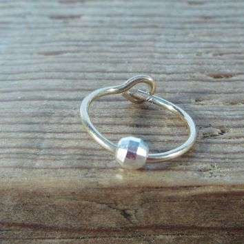 Tiny Hoop Earring Gold Hoop with Silver Mirror Cut Bead Single